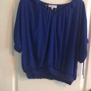 Cold shoulder shirt elastic waist